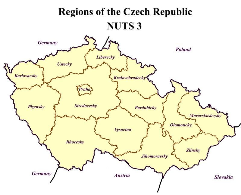 Chapter Czech Republic Regions Level NUTS Transport - Germany nuts 3 map